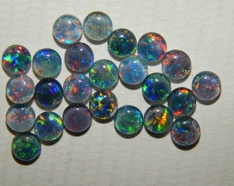 100% Natural Triplet Australian Opal Loose Cabochon Multy Color Fire Round Shape Size 4x4 MM Approx Good Quality Gemstone Supplies