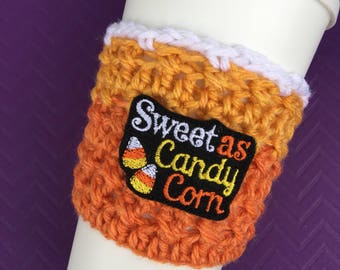 Sweet As Candy Corn - Cup Cozy, Candy Corn, Coffee Cozy, Fall, Autumn Coffee Cozy