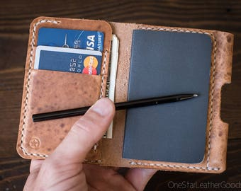 "Small notebook wallet and pen ""Park Sloper Junior"" Horween leather - natural Dublin"