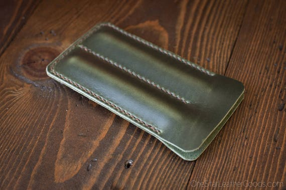 Double pen sleeve case, Horween Chromexcel leather - forest green
