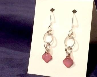 Sterling Silver Circle & Pink Enamel on Copper Earrings