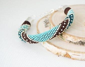 Christmasinjuly Turquoise bracelet crochet colorful bracelet beaded bracelet handmade bangle braclets womens girls gift glass beads effect s