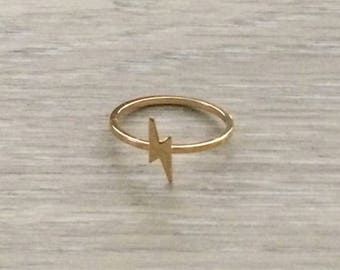 Tiny Lightning Bolt Ring, Gold Ring, Stack Ring, Knuckle Ring, Thin Ring