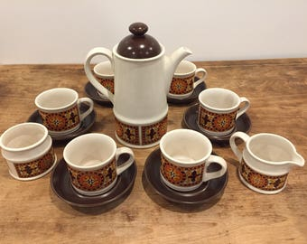 Vintage Sadler coffee set with 6 cups and saucers, coffee pot, sugar pot and milk jug in orange and brown design