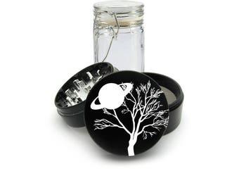 Night sky north Pole Laser Engraved Grinder Plus FREE Glass Jar included! 4 Piece Premium Black CNC Herb Grinder  L0287