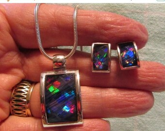 On Sale NOW Stunning Set, Pendant with Matching Earrings, Iridescent, Blues & Purples, Mod Design, Eye Catching ~ BreezyTownship.etsy.com JS