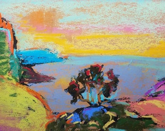 Original pastel drawing rocky countryside seascape landscape home decor color 5x7inches