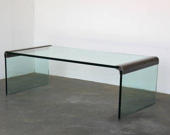 Glass + Chrome Pace Collection Waterfall Coffee / Cocktail Table By Leon  Rosen Mid Century Hollywood Part 94