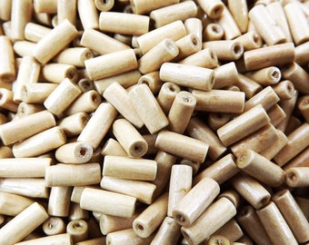 Natural Beige Thin Wood Tube Beads Satin Varnished Plain Simple Round Smooth Ball Wooden Bead Spacers 9mm Choose 50pcs, 200pcs or 400pcs