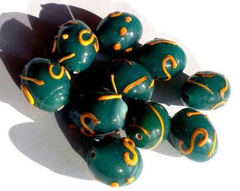 Set of 10 approximately spun blue-green, 15mm olive glass beads