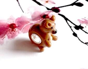 handmade 1 lampwork bead, brown bear
