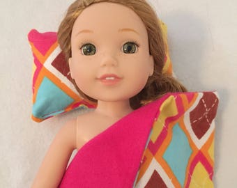 """Blanket and Pillow for Dolls - 14"""" Doll Blanket - Wellie Wishers Blanket - Flannel Blanket - Doll Accessories - Cows"""