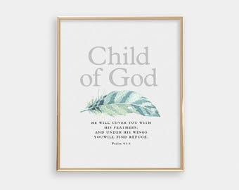 Baptism Gift - Art Print - Under His Wings - Bible verse quote - Baby Boy Nursery - Nursery Art Print - Wall Art - Scripture - SKU:3112