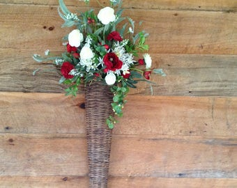 Wicker Wall Basket Arrangement. Spring Arrangement. Summer Arrangement.
