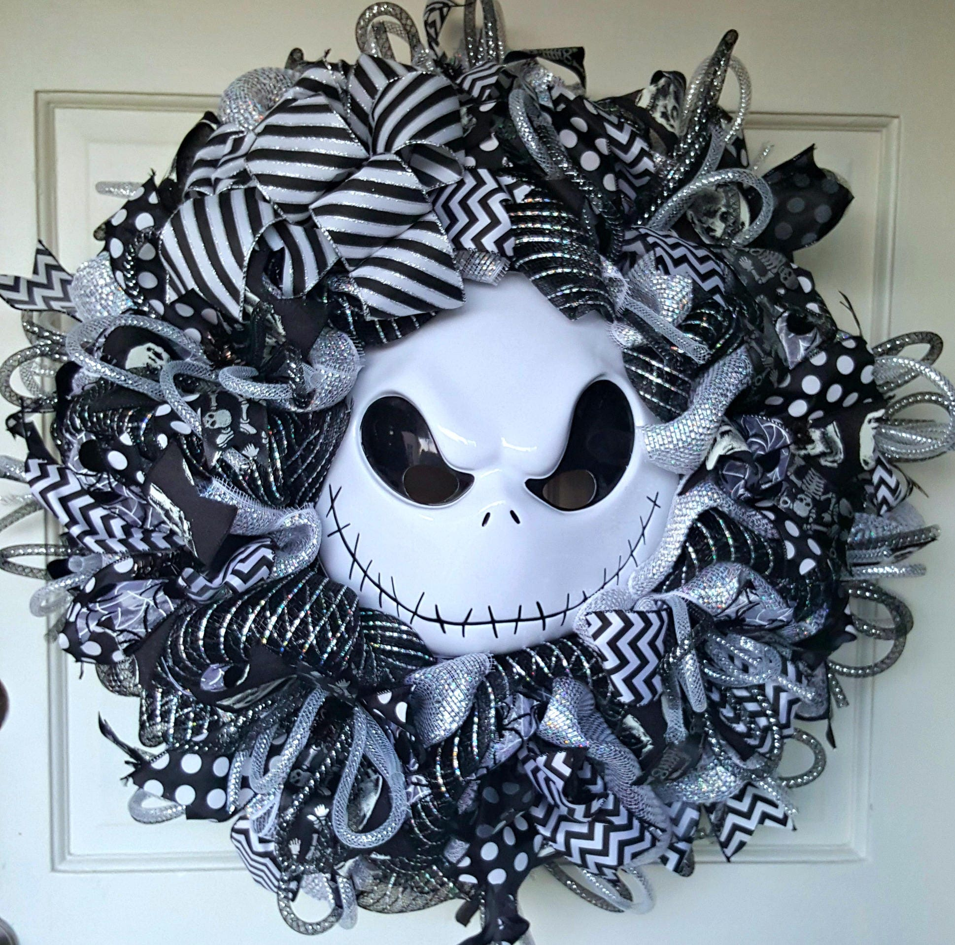 Nightmare before christmas halloween wreath jack skellington - Jack skellington christmas decorations ...