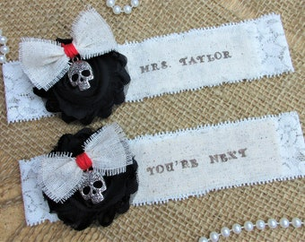 Sugar Skull Wedding Garter Set,Gothic Skull Wedding Garter Set, Keepsake & Toss garter Set