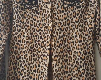 Skull kitty leopard print cardigan.