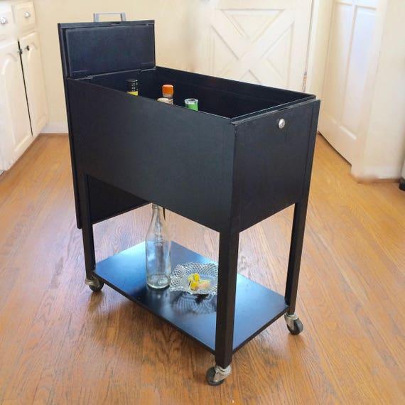 Black Rolling Cabinet Mid-Century Metal File Cabinet Flip Top