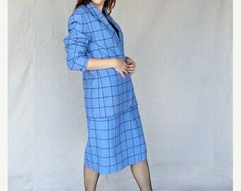 Sexy Summer Sale Posh Periwinkle Blue Large Plaid Gingham Check Secretary Suit 1970's Blazer Jacket & Aline Skirt Set by Pendleton size 12