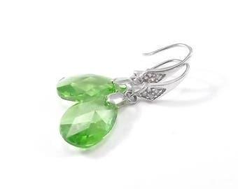 END Of SUMMER SALE Green Swarovski Crystal Teardrops Sterling Silver Earrings