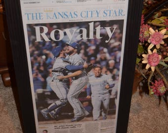 FREE SHIPPING Kansas City Royals 2015 framed original complete newspaper World Series Champions solid rustic cedar dark finish man cave