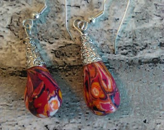 Pair of polymer clay earings in rich Moroccan type colours, handmade, extruded beads, drop earings, hand shaped, SP bead cones, gift