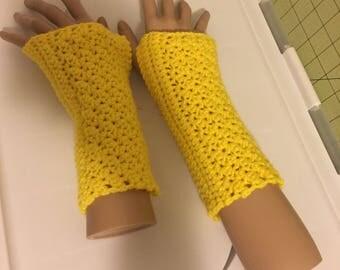 Bright Yellow Fingerless Gloves