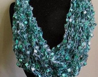 Hand Knit Metallic Emerald-Colored Cowl