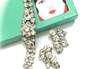 Eisenberg Ice Bracelet and Earrings Set, Wedding, Vintage Bridal, Special Occasion