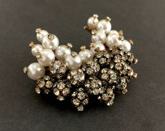 Rhinestone Cluster Beads and Faux Pearl Brooch, U Shaped, Beautifully Embellished Texture & Dimension, Vintage Wedding, Statement Brooch