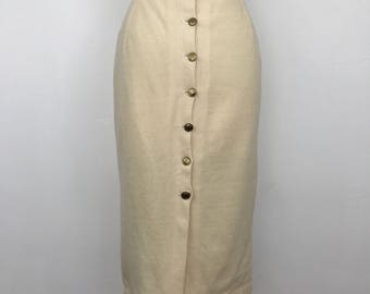 50s style red pencil skirt cream wool wiggle button up back 1950s pin up gold buttons UK 14 1980s