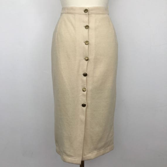 50s style pencil skirt cream wool wiggle button up back 1950s pin up gold buttons UK 14 1980s