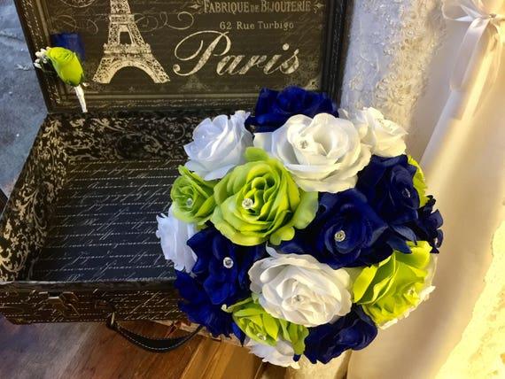 Royal Blue Lime White Rose Wedding Bouquet Silk Flower Set