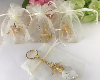 12 Angel keychains for Baptism favors/ Recuerditos para bautizo/ wedding favors/ Communion favors/  christening favors/ recuerdos para bauti