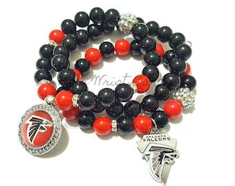 Atlanta Falcons Beaded Bracelet, Football Bracelets, Team Spirit, Black, Red, Stretchy Bracelets, Womens, Handamade, Custom Jewelry
