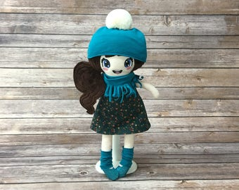 """Doll 15 """", turquoise, gift for girl"""
