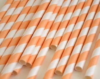 Peach Striped Paper Straws