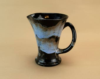 Small Black Mottled Blue Water Milk Jug Ewenny Pottery Welsh Vintage