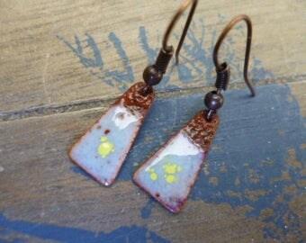 Rustic earrings - enamel on copper - copper, ivory, yellow