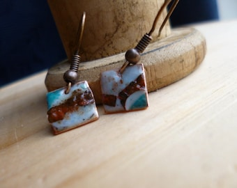 Small square earrings enamel - rustic copper earrings - ivory, copper and turquoise - Torch fired enamel