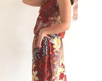 African pattern dress was back naked neck tie asymmetrical