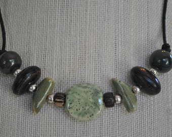 Green African Kazuri Ceramic Necklace with brown, sage, and silver, Unisex, leather