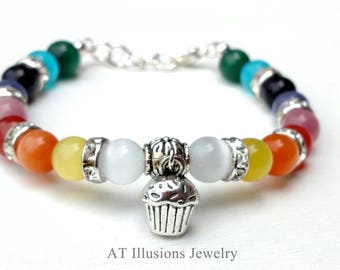 """Cupcake - """"Come with me and we'll see if a cupcake can make the world a better place to be."""" Bracelet - See photos for color options"""
