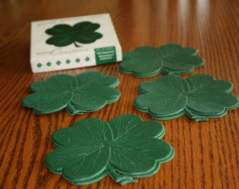 Vintage 8 Rubber Four Leaf Clover Coasters in Original Box made by John P. Gleason Co.