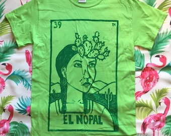 Size SMALL, El Nopal - Loteria (Mexican Bingo) Design,  Lime Green Unisex T-Shirt, Ready-to-Ship