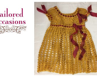 Crochet Girl's Dress Handmade, Size  6-8 10-12 Antique 100+ years old, Goldenrod Yellow Portraits Flower Girl Thanksgiving, Christmas Easter