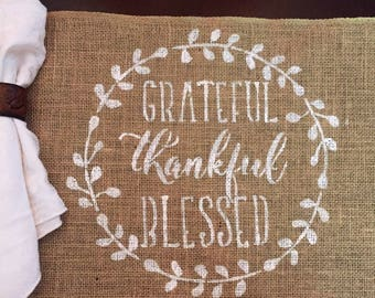 Grateful Thankful Blessed Placemat / Grateful Burlap Placemat / Thankful Fall Placemat / Burlap Placemat / Thanksgiving Placemat