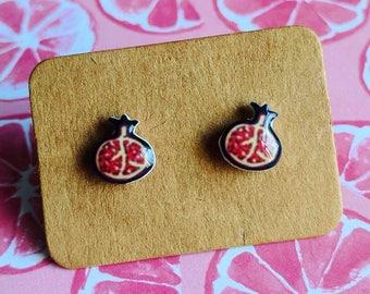 Pomegranate Stud Earrings / Fruit Earrings / Kawaii Earrings