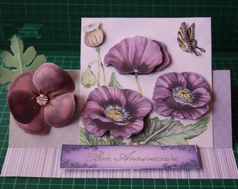 Oriental poppy birthday card