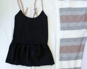 Black Camisole / Black Satin Top / Satin Cami / Woman Shirt / Satin Top / Ruffle Top / Black Ruffle top / Camisole Top / Satin Tank Top
